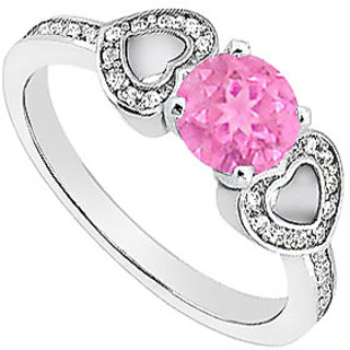LoveBrightJewelry Pink Sapphire Engagement Ring With Diamond Heart In 14K White Gold