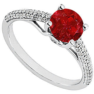 LoveBrightJewelry Ruby & Diamond Engagement Ring In 14K White Gold