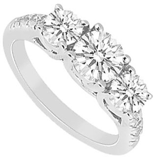 LoveBrightJewelry Polished 14K White Gold 1 Carat Engagement Ring Of Cubic Zirconia