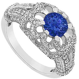 September Birthstone Sapphire & CZ Floral Design Engagement Ring 14K White Gold