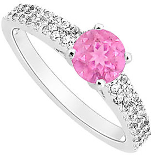Voguish September Birthstone Pink Sapphire & CZ Engagement Ring In 14K White Gold