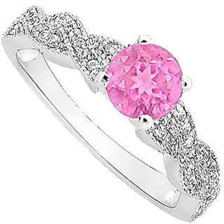 Modish September Birthstone Pink Sapphire & CZ Engagement Ring In 14K White Gold