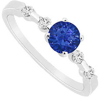 Jazzy September Birthstone Sapphire & CZ Engagement Ring In 14K White Gold