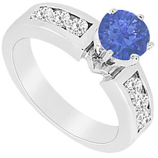 Modernistic September Birthstone Sapphire & CZ Engagement Ring In 14K White Gold