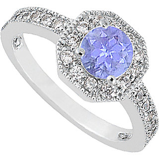 LoveBrightJewelry Tanzanite & Diamond Milgrain Engagement Ring In 14K White Gold