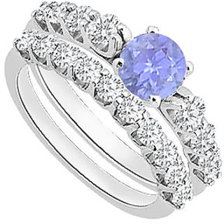 Tanzanite Engagement Ring With Diamond Wedding Sets In 14K White Gold