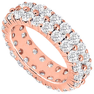 LoveBrightJewelry Two Row CZ Eternity Ring Stackable Band On 14K Rose Gold Vermeil