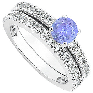 LoveBrightJewelry Tanzanite Diamond Wedding & Engagement Ring Set In 14kt White Gold
