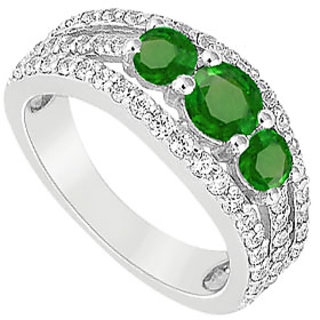 LoveBrightJewelry Three Stone Engagement Ring With Emerald & CZ In 14K White Gold