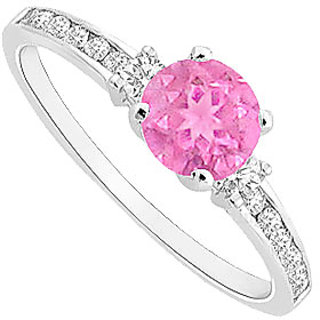 September Birthstone Engagement Ring In Pink Sapphire CZ In 14K White Gold
