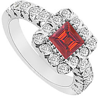 LoveBrightJewelry Square Ruby & CZ Halo Engagement Ring In 14K White Gold