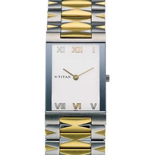 Titan Square Dial Gold and Silver Metal Strap Men Quartz Watch