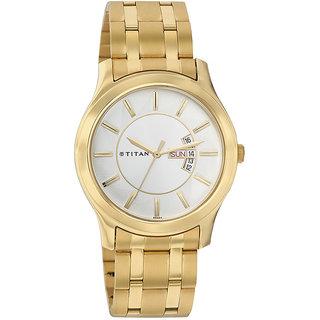 Titan Round Dial Gold Metal Strap Men Quartz Watch