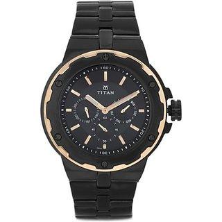 Titan Round Dial Black Metal Strap Men Quartz Watch