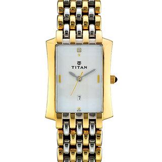 Titan Rectangle Dial Gold Metal Strap Men Quartz Watch
