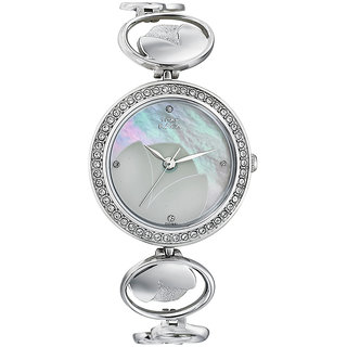 Titan Round Dial Silver Stainless Steel Analog Watch for Women