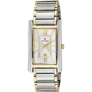 Titan Rectangle Dial Gold and Silver Metal Strap Men Quartz Watch