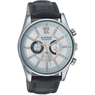 Titan Round Dial Black Leather Strap Men Quartz Watch