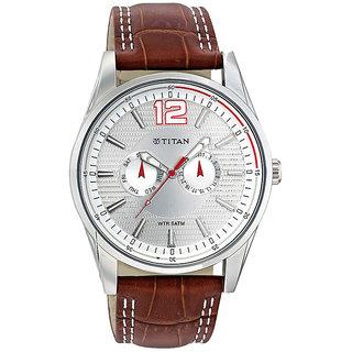 Titan Round Dial Brown Leather Strap Men Quartz Watch