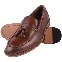Genuine  Leather Two Tone Tan Cord Stitch Tassel Loafer By Aditi Wasan