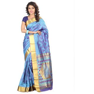 Varkala Silk Sarees Woven Art Silk Paisley Pallu SareeSky Blue and VioletJP7105ADV