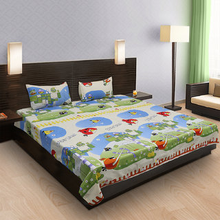 Krishnam Beige & Green Cartoon Double Bedsheet with 2 Pillow Covers