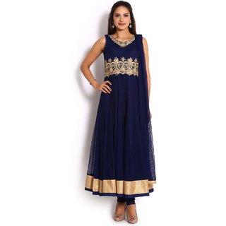 Soch Navy Blue & Gold Net Anarkali Salwar Suit