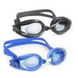 IMPORTED 2 PCS ANTI FOG SWIMMING GOGGLES+EAR PLUG FREE (BLACK + BLUE COLOR)