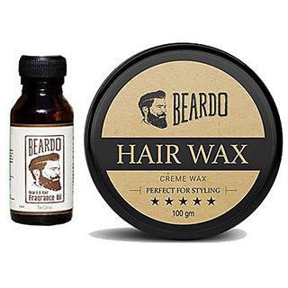 Beardo Beard  Hair Fragrance Oil, The Classic (10ml) And BEARDO HAIR WAX - Perfect For Styling -(100g) Combo.