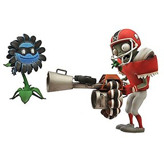 Diamond Select Toys Plants vs. Zombies: Garden Warfare: All-Star Football Zombie with Imp Bomb and Dark Sunflower with M