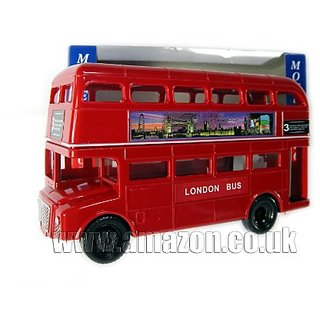 Money Bank - London Big Red Bus Made of Plastic Frame with Metal Parts (London Souvenir)