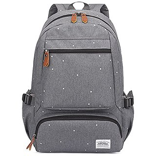 Kaukko Unisex Fashion Casual College School Bookbag Oxford Backpack-Grey