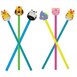 Pencils with Animal Eraser, 6 ct Colorful and Fun Pencils with Erasers for Kids. Giraffes, Zebra, Tiger, Fish & Pig