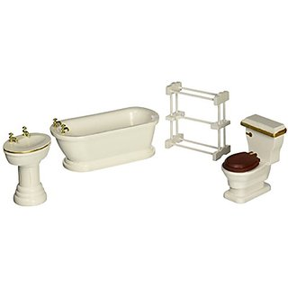 Melissa & Doug Classic Wooden Dollhouse Bathroom Furniture (4 pcs) - Tub, Sink, Toilet, Towel Rack