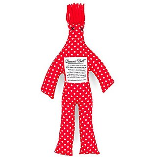 Dammit Doll - Classic Dammit Doll - Pois Fous - Red with White Dots, Red Hair - Stress Relief, Gag Gift