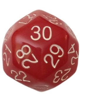Red- 30 Sided Polyhedral Dice (D30)- Role Playing Games and Math Play (1 each)- Large Size- 32 mm