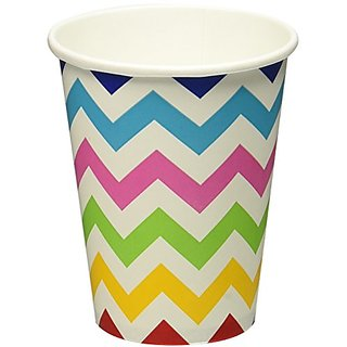 Disposable Paper Cups in Chevron Print Fits 8 Tables (8 Pack), 9 oz, Multicolored