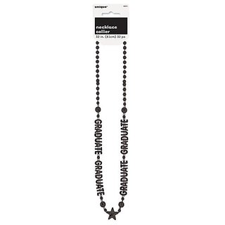 Graduation Black Party Bead Necklace