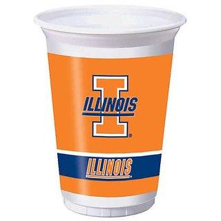 Creative Converting Illinois Fighting Illini Printed 20 Oz. Plastic Cups (8 Count)
