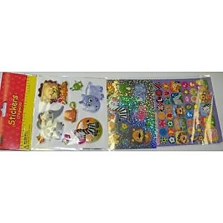Sticker Medley ~ Combination of 3D, Laser, and Paper Stickers-Style: Safari Animals (174 Stickers)-8 3D stickers on a 4