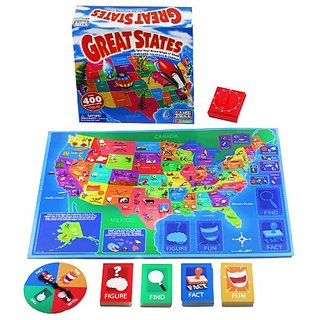 International Playthings Game Zone - Great States Board Game - Learn Geography, Capitals, Trivia and Fun Facts About the