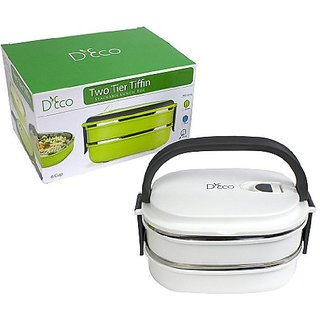Stacking Lunch Box - Two Tier Tiffin with Vacuum Seal Lid and Stainless Steel Interior (White)