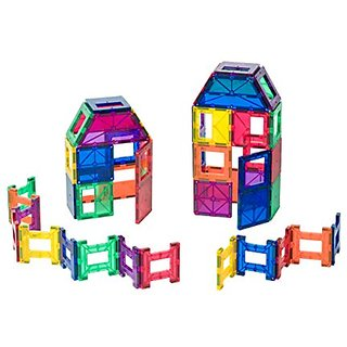 Playmags 48 Piece Set: Now with Stronger Magnets, Sturdy, Super Durable with Vivid Clear Color Tiles.