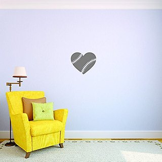 Design with Vinyl JER 144 3 Baseball Heart Sports Picture Sign Boy Girl Childrens Bedroom Vinyl Wall Decal Sticker, 18