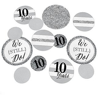 We Still Do - 10th Wedding Anniversary Party Table Confetti Set - 27 Count