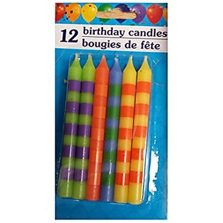 12 Childrens Birthday Candles in Colorful Stripes