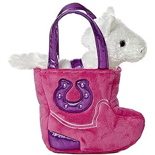 Aurora World Fancy Pal Pet Plush Carrier, Western Pink Boot