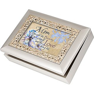 Mom You Add the Beauty to My World Cottage Garden Champagne Silver Silver Jewelry Music Box - Plays Song Wind Beneath My