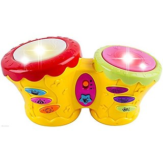WolVol Musical Double Pat Drum Toy with Lights and Many Interesting Sound Effects - Great toy for toddlers