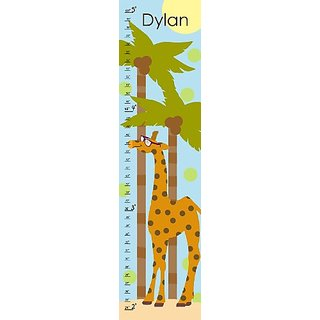Green Leaf Art Growth Chart, Personalized Giraffe on Summer